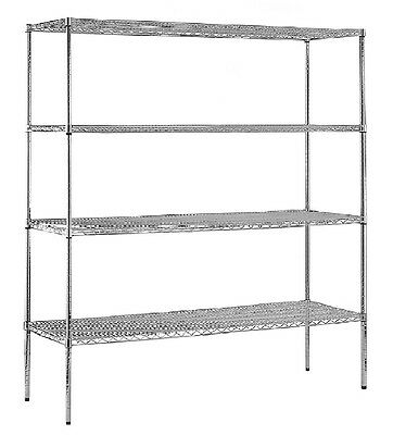 Sandusky Heavy Duty 4-Level NSF Certified Wire Shelving Chrome 74H x 72W x 18D