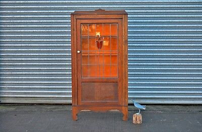 Antique Oak Bookcase Drinks Cabinet Leaded Stained Glass Door.