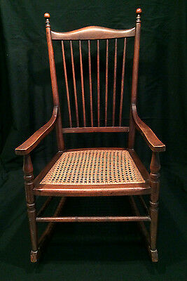 Rare Antique The Delaware Chair Co Doll Childs Rocking Rocker Cane Seat Spindle