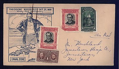Panama ~1949 Cover Sc. 371, 343 Ovpt RA30 Tax to NY Un-cancelled  *stain marks