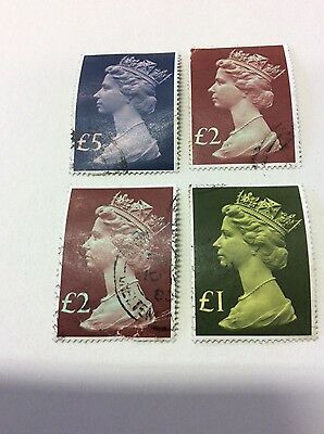 4 x. High value, large, British stamps. Used
