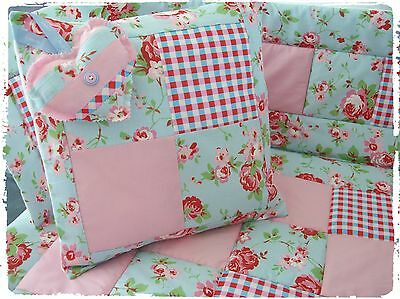 Lovely Handmade Cath Kidston Ikea Fabrics Cot Quilt, Bumper Set 4pc Baby Bedding
