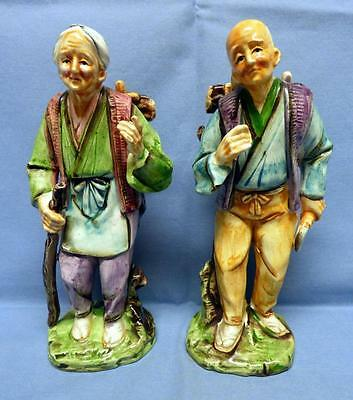 Chinese Oriental Artistic 2 Peasants Figurines Ceramic Hand Painted Glazed Rare