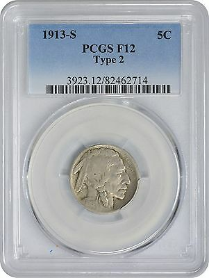 1913-S Buffalo Nickel Type 2 F12 PCGS Fine 12