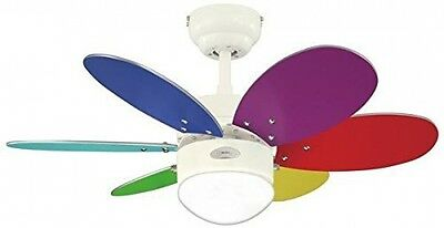 Westinghouse Turbo Ii 76 Cm/ 30-inches Ceiling Fans, White-Multi Coloured/ Pine