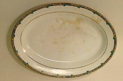 Vintage Knowles PLATTER K T & K China Blue Flowers on Gold/Yellow Band