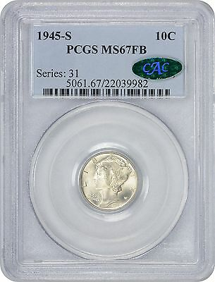 1945-S Mercury Dime MS67FB PCGS/CAC Mint State 67 Full Bands