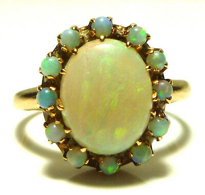 Antique Old 14K Yellow Gold Oval Opal Cabochon Womens Estate Ring Size 7