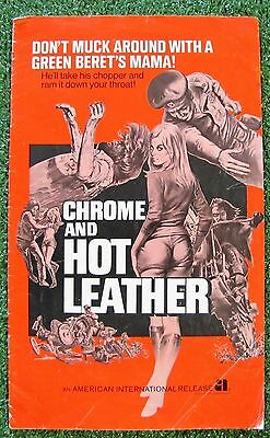 CHROME AND HOT LEATHER Green Beret Bike Motocycle Gang Explotation PRESSBOOK '71