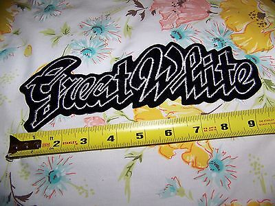 NOS NEW Vintage 80s GREAT WHITE Band Large Woven Denim Jacket Back Patch 9.5 X 3