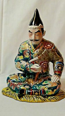 Antique Japanese Glazed Ceramic Statue Of A Daimyo Seated Cross -Legged In Robe