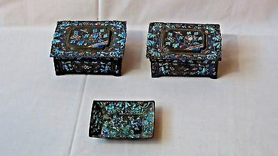 Antique Chinese Relief Enamel On Brass 3 Piece Set:tray&2 Boxes Turquoise&Purple
