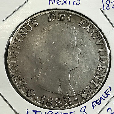 Mexico 1822 Iturbide Silver 8 Reales Rare Crown Coin