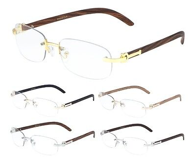 Luxe Dean Slim Rimless Sun Eye Glasses Clear Oval Lenses Metal Wood Frame Euro