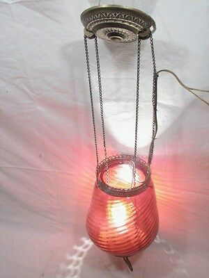 Vintage Cranberry Swirl Art Glass Shade Chandelier Ceiling Hall Light Lamp