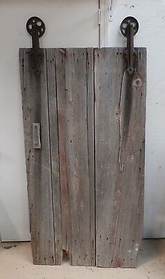 Antique Primitive Barn Or Cellar Rolling Door - Cast Iron Rollers - Square Nails
