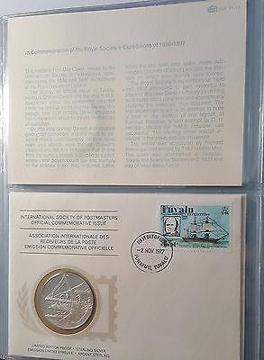 1977 Tuvalu Intl Society of Postmasters Silver Proof Medal PNC FDC Cover