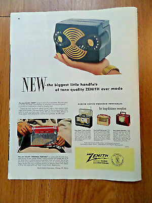 1952 Zenith Radios Ad Shows 5 Models Crest Portable Trans Oceanic Holiday