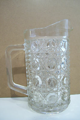"Art Glass Crystal Clear Unsigned Large Coffee Creamer Or Small Pitcher 6"" Jug"