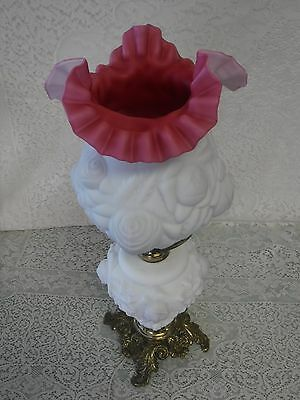 Embossed Puffy White Pink Rose Lamp Ruffled Shade 19""