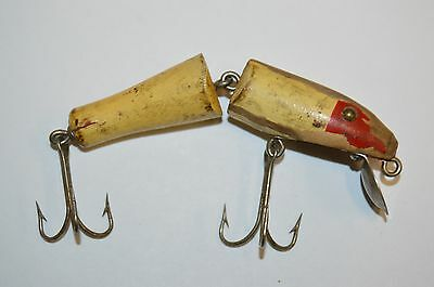 Vintage Jointed Wooden & Metal Painted Fishing Lure Estate Find Rare