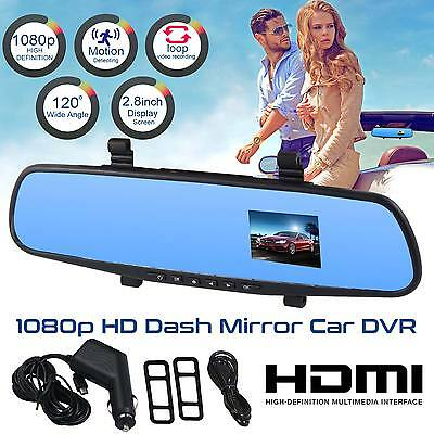 1080P HD In Car Mirror Camera Rear View Smart Monitor Dashboard Cam DVR Recorder