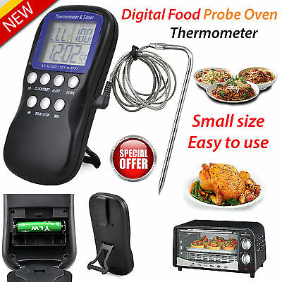 Digital Thermometer Food Probe Oven Timer Temperature Sensor Cooking Baking Meat