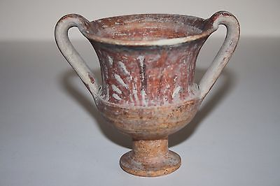 ANCIENT GREEK HELLENISTIC POTTERY KANTHAROS WINE CUP 3rd CENTURY BC CHALICE