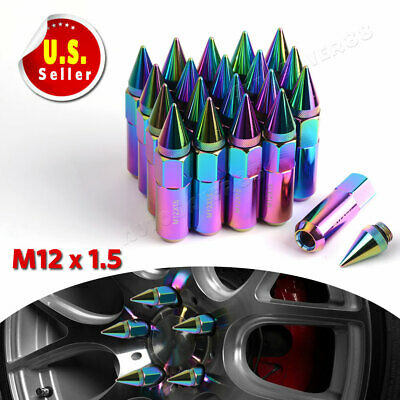 20x 60mm M12X1.5 Spiked Lug Nuts Extended Tuner Neo Chrome for Toyota BMW Wheel