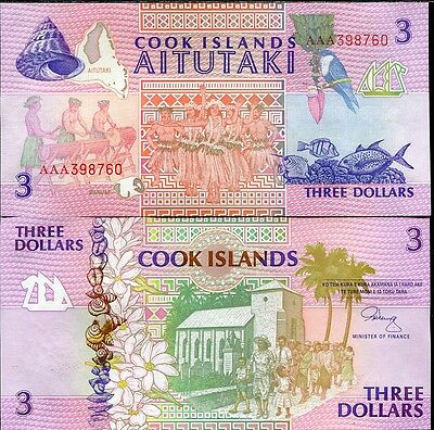 Cook Islands 3 Dollars 1992 P 7 Aaa Prefix Unc