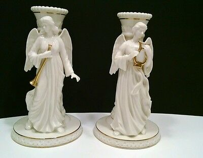 Lenox China 1995 Heavenly Angel Collection Set 2 Candle Holders Candlesticks