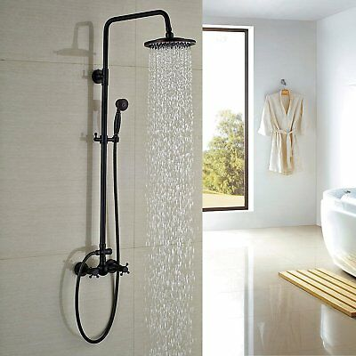 Oil Rubbed Bronze 8 Round Bath Shower Faucet Wall Mount Rain Head W