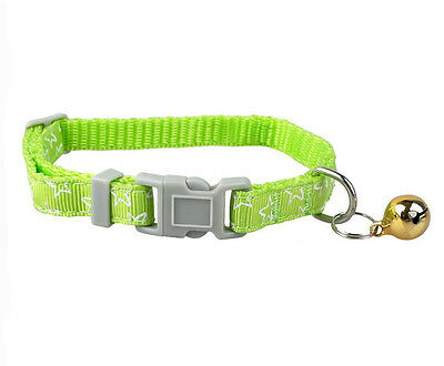 New Dog Puppy Cat Pet Nylon Collars With Bell Adjustable 6Colors