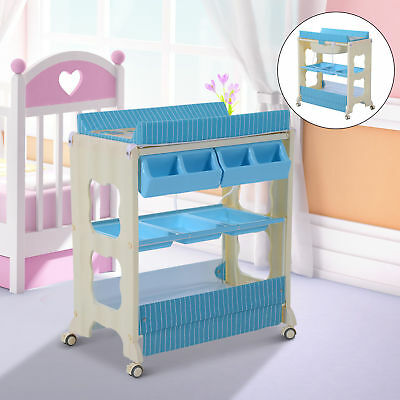HOMCOM Multi Use Baby Changer Changing Table Bath Station Storage Unit Tray NEW