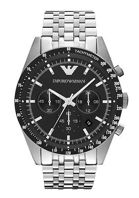 Emporio Armani Gents Chronograph Stainless Steel Classic Black Dial Watch AR5988