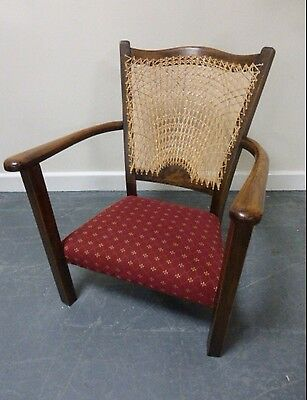 Edwardian oak nursing/child's chair with re-caned back And Reupholstered Cushion
