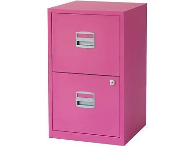 2 DRAWER STAPLES STEEL FILING CABINET / FUSCHIA PINK / A4 NEW + FREE 24h COURIER