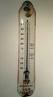 PLAQUE EMAILLEE BOMBEE thermometre ancien BIERE DU COQ HARDI ENAMEL THERMOMETER