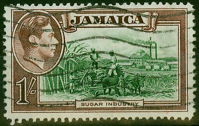 Jamaica 1938 1s Green & Purple Brown SG130a Repaired Chimney Fine Used
