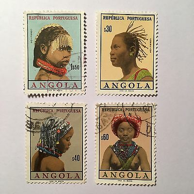 Set Of 4 Angola Women Headdress Postage Stamps (1961, Cancelled, MNH)