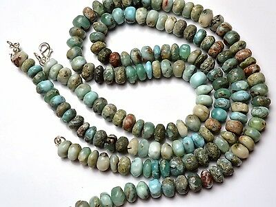 """Natural Rare Gemstone Larimar 7 to 8MM Smooth Rondelle Beads Necklace 17.5"""""""