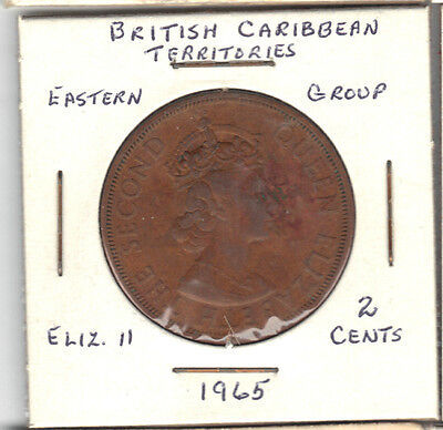 British Carribean 1965 2 Cent Coin