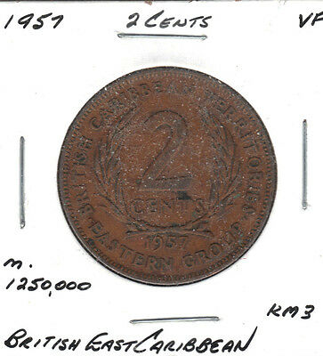 British East Carribean 1957 2 Cent Coin