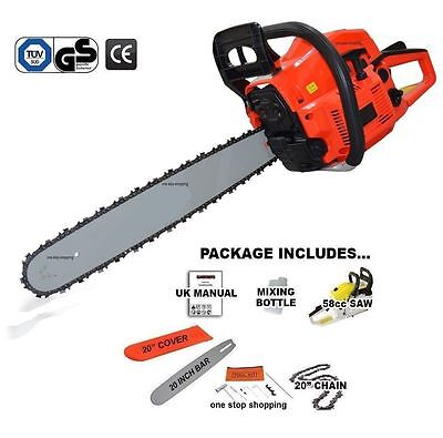 """Heavy Duty 20"""" 58Cc Petrol Chainsaw Saw Cutter & Chain & Cover 2.2Kw Tool Kit"""
