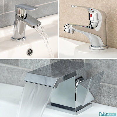 Modern Bathroom Basin Taps Brass Chrome Sink Square Round Faucet Cloakroom