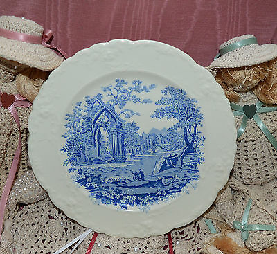Vintage Embossed Taylor Smith & Taylor Dessert Plate Blue on White ENGLISH ABBEY