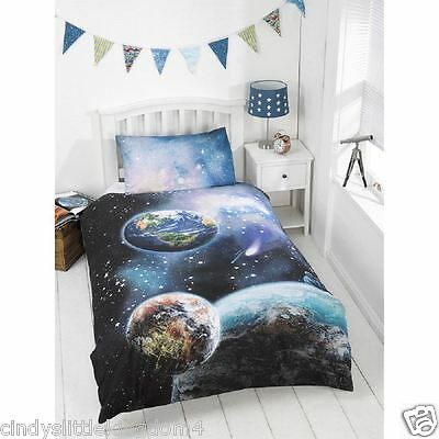 Kids Glow in the Dark Space Single Duvet & Pillowcase Set - Planets