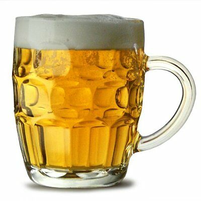 Traditional Glass Pint Tankards Set of 2 | Also known as Dimpled Beer Tankard