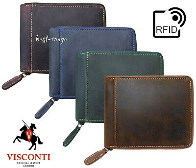 Mens Wallet Real Leather Zip-Around Visconti Hunter New in Gift Box RFID block