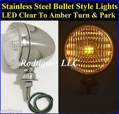Bullet LED Clear to Amber Turn Signal Park Driving Fog Lights Universal Fit 1